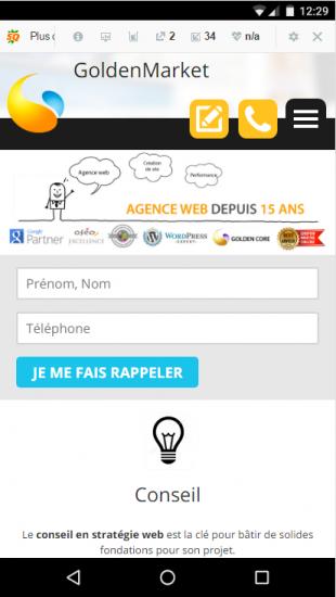 Création d'un site mobile pour Goldenmarket