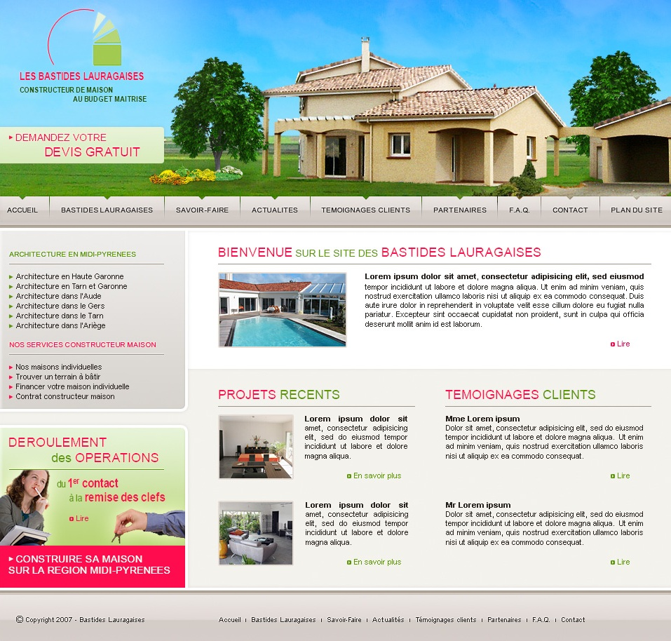 Constructeur De Maison Gers site vitrine pour un constructeur de maisons individuelles